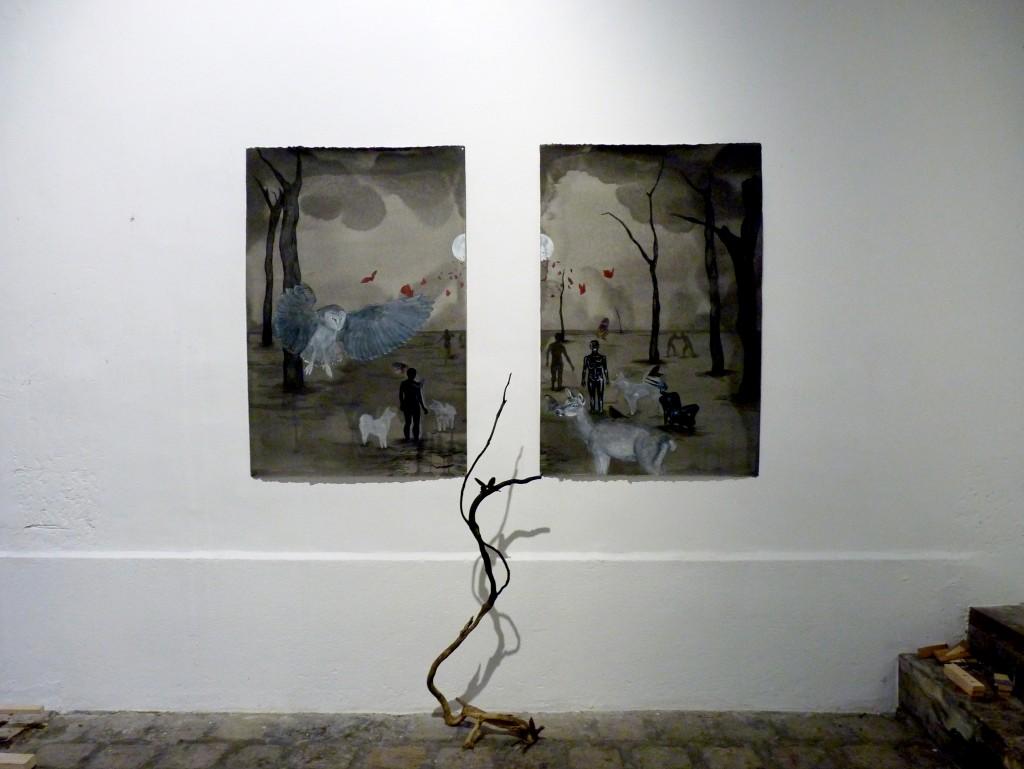 Les papillons, 2016, 120 x 80 cm par panneau, techniques mixtes sur papier, bois et papillon